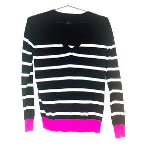 J Crew Cotton Striped V Neck Sweater